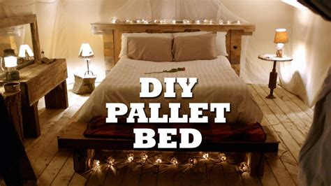build  rustic pallet bed headboard youtube