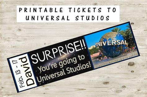 printable ticket  universal studios  custom