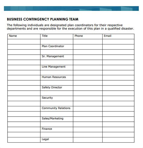 sample business continuity plan templates