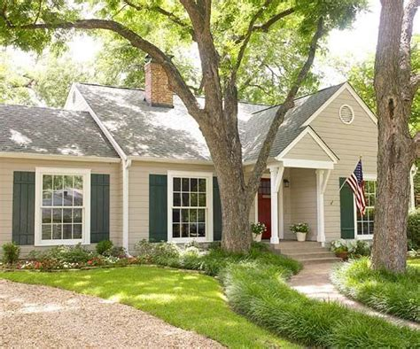 image result  tan house  green shutters burgundy