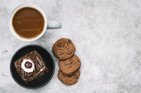 ✓ free for commercial use ✓ high quality images. Free Photo | Cookies; coffee cup and slice of cake on background