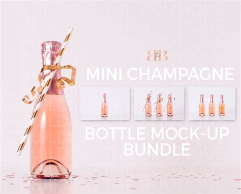 This set of four styled mini pink champagne bottle mockups will allow you to show off your designs in style. Mini Champagne Bottle Mock Ups Pink Champagne Product MockUp   Etsy