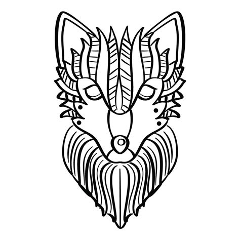 wolf coloring page   vector art stock