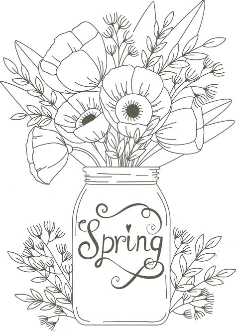 spring mason jar floral coloring page (With images