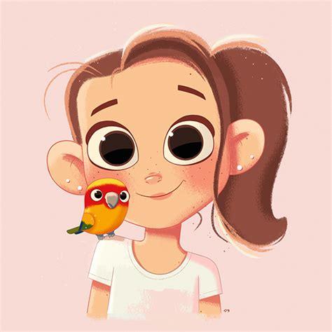 girl pet parrot portrait digital painting