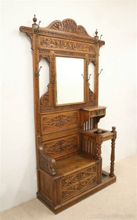 Antique Hall Stands For Sale by Victorian Carved Oak Hall Stand Hall Bench Antiques Atlas
