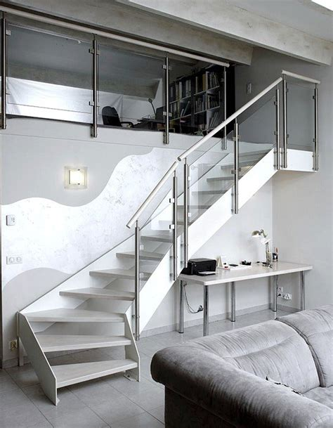 escalier design m 233 tal et bois peint en blanc garde corps