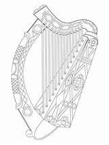 Harp Coloring Printable Craft Celtic Symbols Printables Crafts Irish Ireland sketch template