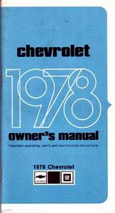 1978 Chevrolet Impala Full Size Owners Manual Guide