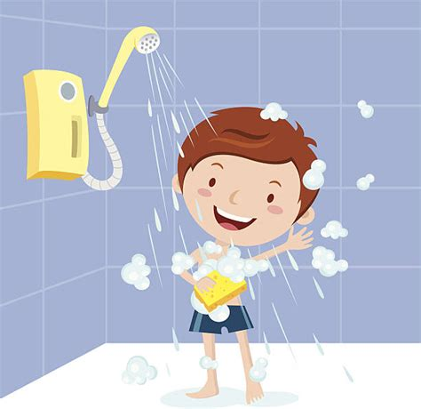 shower clipart boy taking a bath clip vector images illustrations istock
