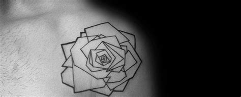 geometric rose tattoo designs  men flower ink ideas