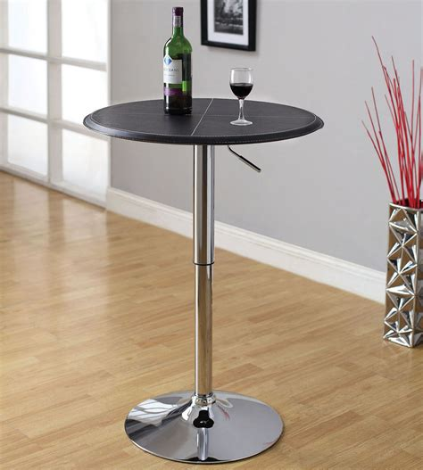 small round pub table black leatherette round top chrome base adjustable height