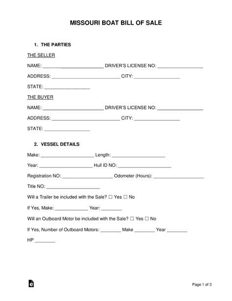 Boat Loans Missouri by Free Missouri Boat Bill Of Sale Form Word Pdf Eforms