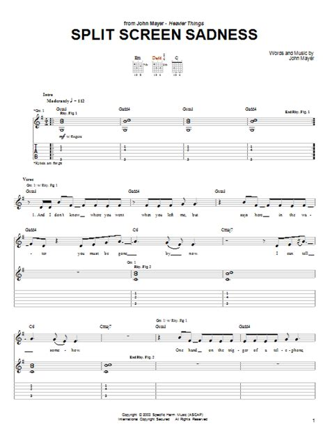 split screen sadness guitar tab by john mayer guitar tab