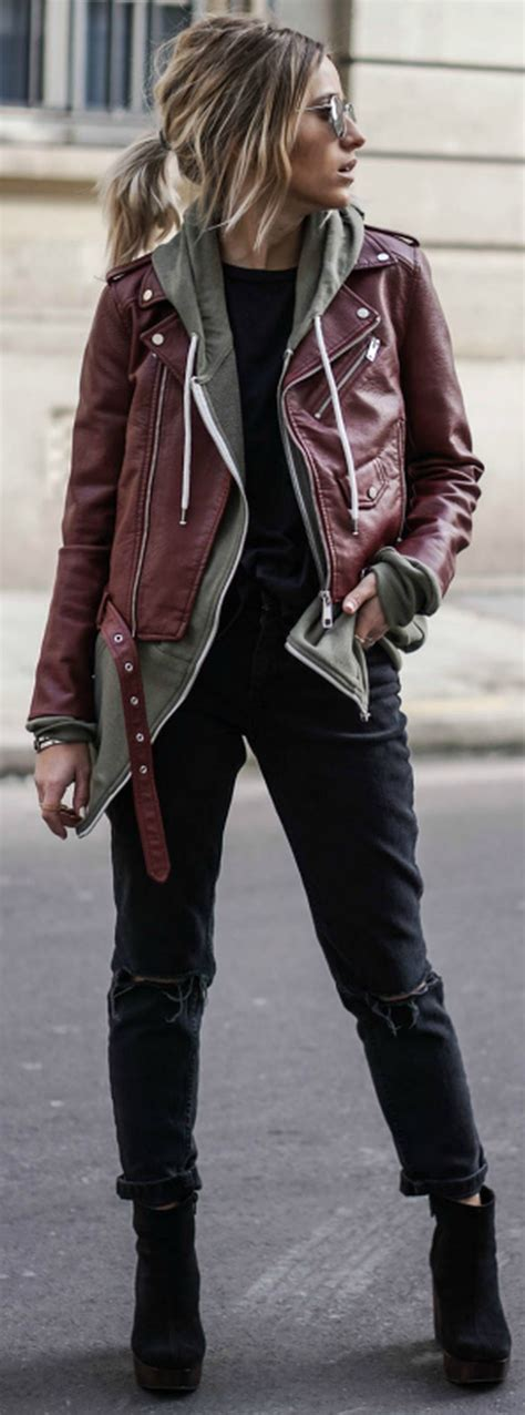 99 Classy and Casual Women Winter Leather Jacket Outfits ...