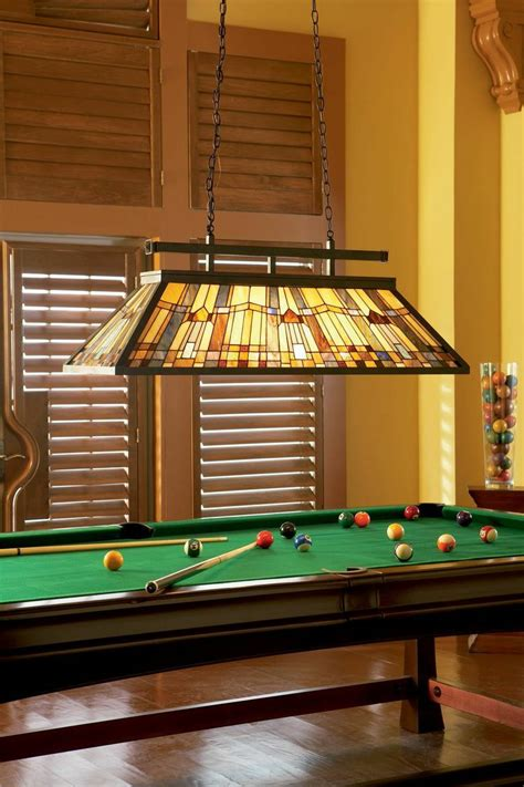 complete  billiards room   traditional stained glass hanging lamp home decor