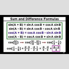 Formulas For Trigonometric Functions Sumdifference
