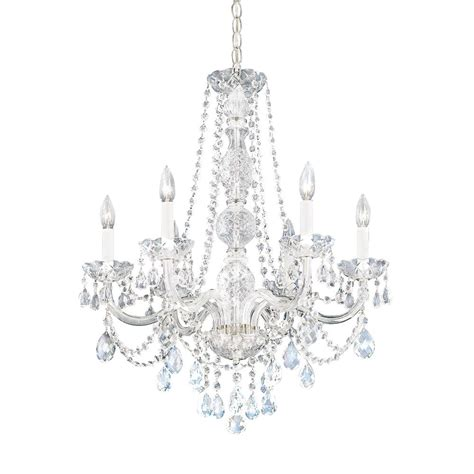 six light heritage crystal chandelier 1303 40h destination lighting