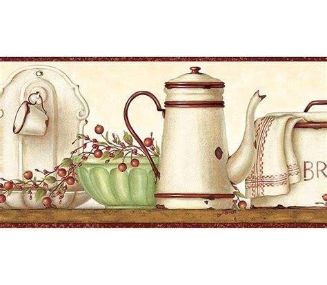 enamelware shelf wallpaper border rustic country primitive