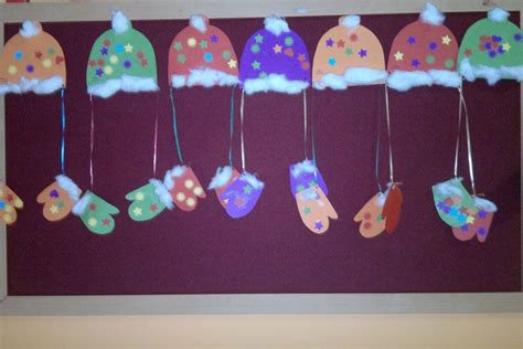 winter gloves hats cotton ball crafts  preschool