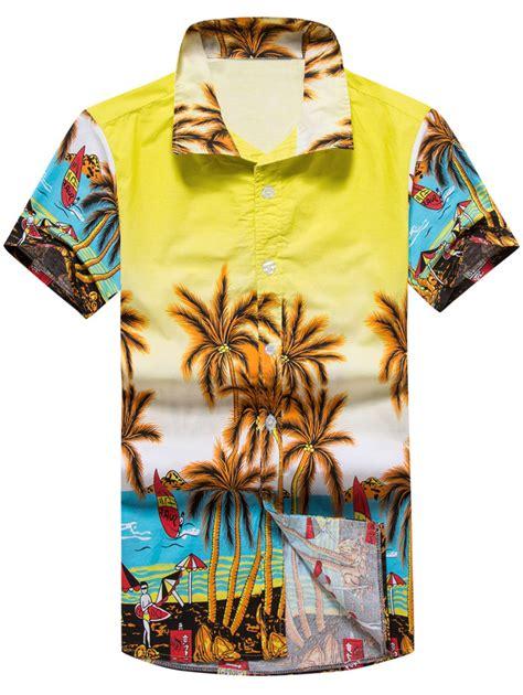 [17% OFF] 2020 Palm Tree 3D Print Hawaiian Shirt In YELLOW ...
