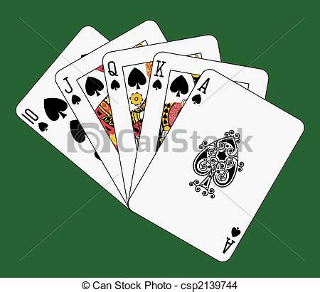 Royal Flush Spade On Green Background Eps Vector  Search Clip Art, Illustration, Drawings And