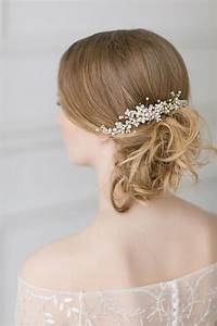 Wedding Pearl Hair Piece Gold Swarovski Headpiece Bridal