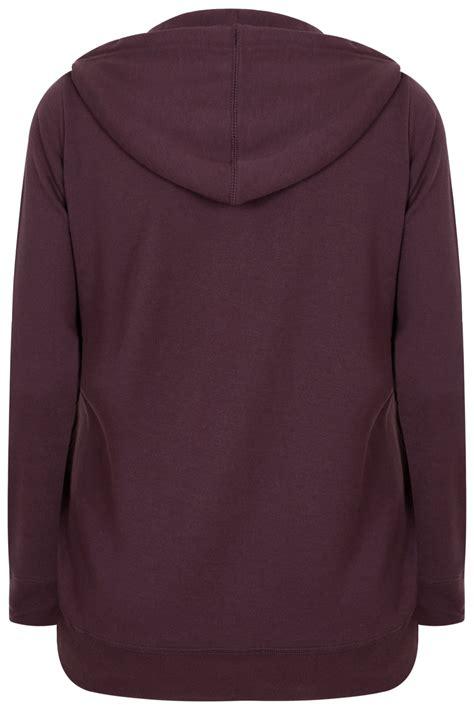 Hoodie Purple purple hoodie with zip fastening plus size 16 to 36