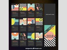 Calendario 2018 con líneas y formas geométricas