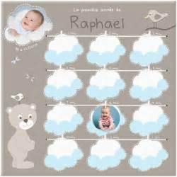 cadre photo pour les premiers mois de b 233 b 233 avec des petits nuages bleus