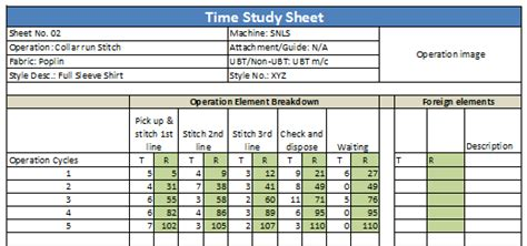 Time Study Template Cfcpoland