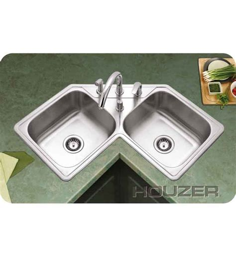 Double Bowl Corner Sink by Houzer Lcr 3221 1 Self Rimming Double Basin Corner Kitchen