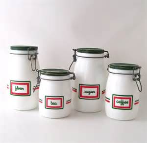 Green Canister Sets Kitchen Vintage Kitchen Canister Set Milk Glass Milkglass Coffee Tea Sugar Flour Green Decorative