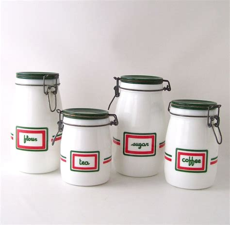vintage kitchen canisters sets vintage kitchen canister set glass milkglass coffee