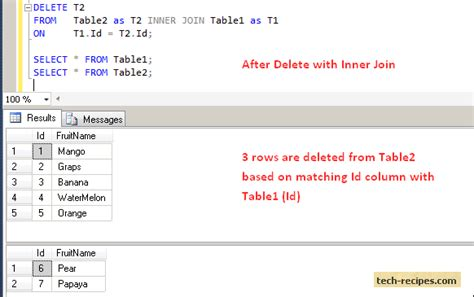 sql join 2 tables delete and update rows using inner join in sql server