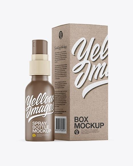 Simple edit with smart layers. Matte Spray Bottle with Kraft Paper Box PSD Mockup