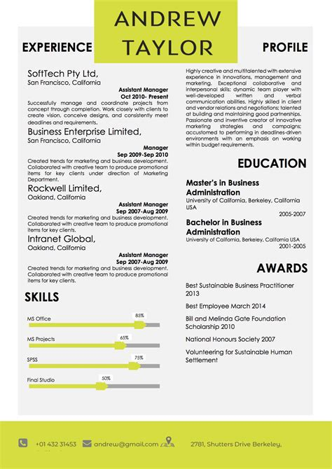 modern business resume format template vista resume