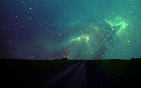 night stars  green sky