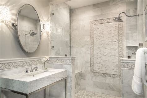 Our Hampton Carrara bathroom with mosaic border tile. #