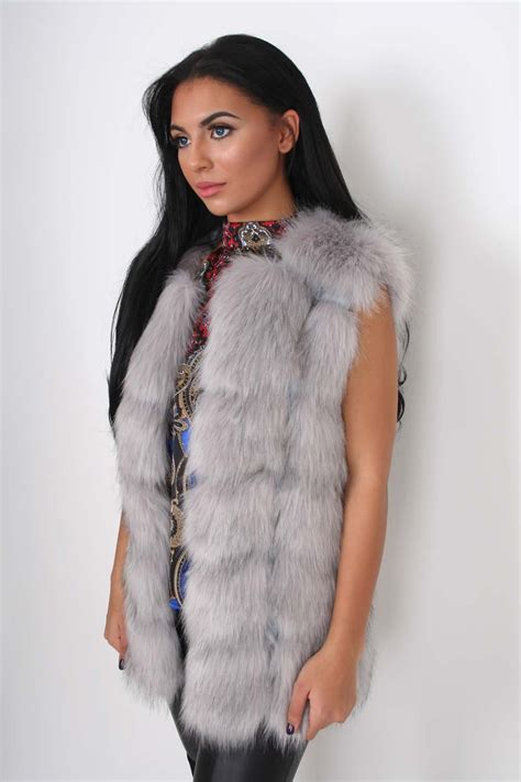 fluffy hair clip pippa grey deluxe faux fur gilet from dollywood
