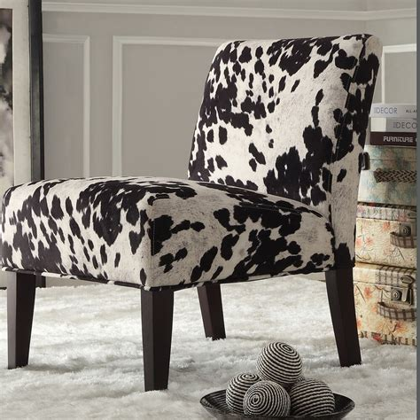 Faux Cowhide Chair by Inspire Q Black And White Faux Cow Hide Fabric Accent