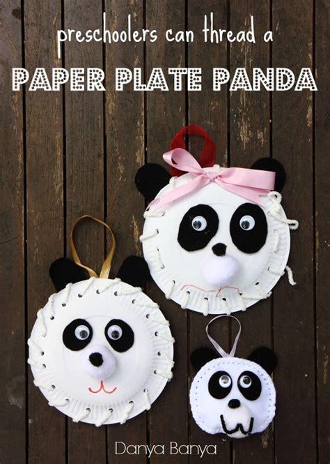 paper plate panda danya banya 350 | preschoolers can thread a Paper Plate Panda