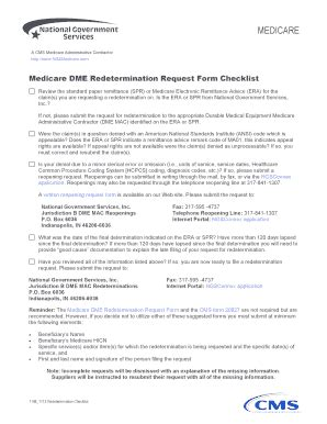fillable medicare dme redetermination request form checklist national fax email