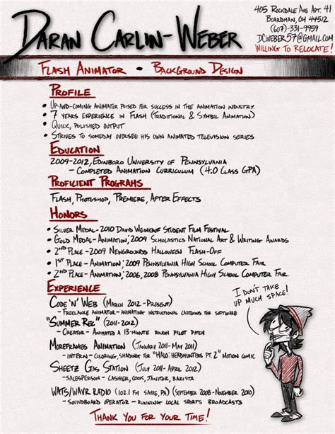 Cool Resumes by Animator Resumes Search Cool Resumes