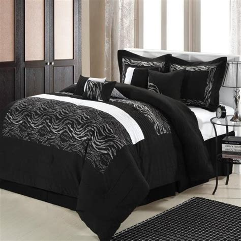 black and silver bedding