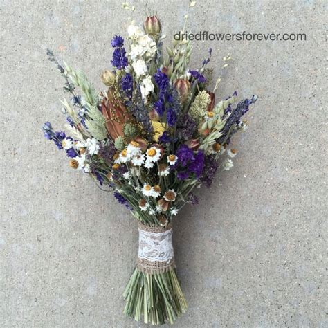 purple dried flower wedding bouquet natural rustic