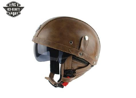 Kco Motorbike Dot Summer Half Helmets Black Leather