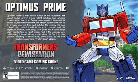Update Transformers Devastation Video Game Optimus