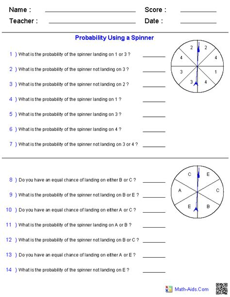 probability worksheets dynamically created probability