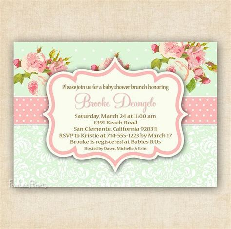 shabby chic baby shower invitations green and pink shabby chic floral and damask baby shower invitation